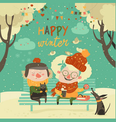 funny grandmother and grandfather sitting with cat vector image
