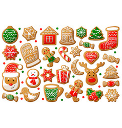 Gingerbread cookie in christmas and new year vector