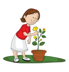girl picking up flower vector image