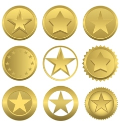 Golden stars set vector