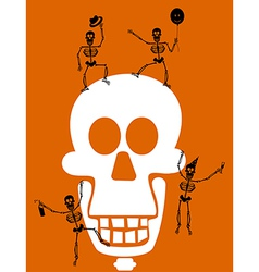 Halloween Skull and skeletons Greeting card vector image
