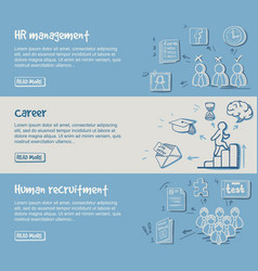Hand drawn career development horizontal banners vector