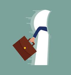 hand hold briefcase run running key hole light vector image