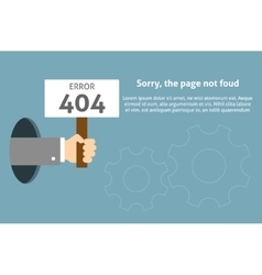 Hand holding sign with error message vector