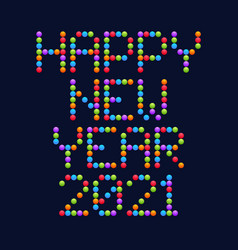 happy new year 2021 circle art typography vector image