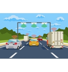 Highway communication system infographics vector