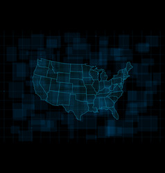 Hud map usa futuristic digital dark blue vector