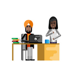 Indian businessman working in office vector