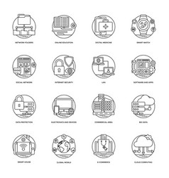 Internet and networking icons vector