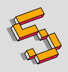 isometric 5 number vector image