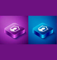 Isometric user protection icon isolated on blue vector