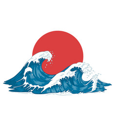 Japanese wave japanese big waves raging ocean vector