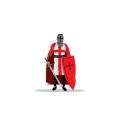 Knight sign Crusader helmet with sword and shield vector