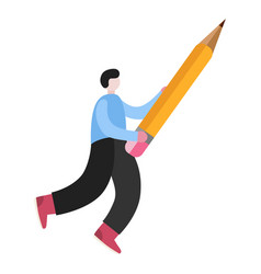 man hold pencil flat isolated vector image