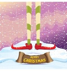 Merry christmas card with cartoon elfs vector