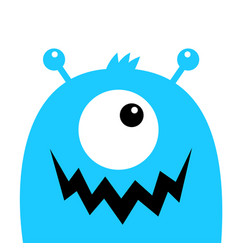 Monster head blue silhouette one eye teeth fang vector