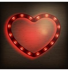 Neon heart on wood EPS 10 vector image