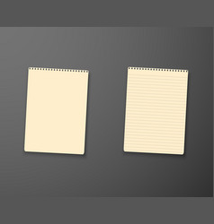 notepad template realistic blank notepad textbook vector image vector image