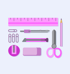 Office supplies flat set pink vector