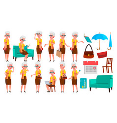old woman poses set elderly people senior vector image