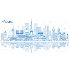 outline france city skyline with blue buildings vector image