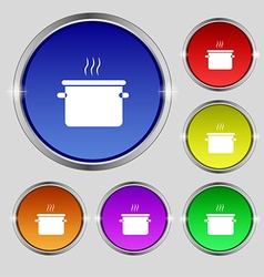 Pan cooking icon sign round symbol on bright vector
