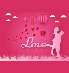 paper art of love and red heart with pink vector image