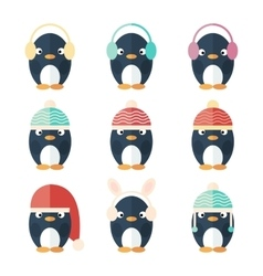 Penguins icons set isolated vector image