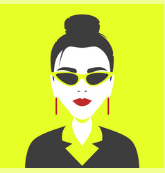 portrait a girl in geometric pop art style vector image