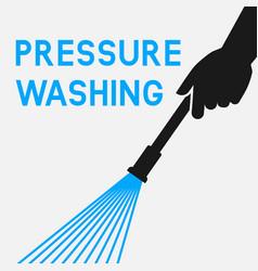 Pressure washing hands with spray gun vector