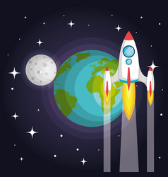 Rocket spaceship planet earth to the moon vector