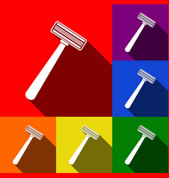safety razor sign set of icons with flat vector image