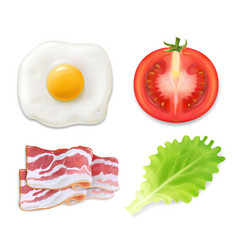 scrambled eggs english breakfast tomato bacon vector image