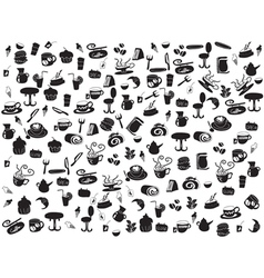 seamless doodle coffee and tea patterns vector image