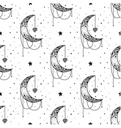 seamless pattern mystical moon with stars stars vector image