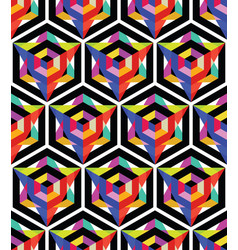 seamless pattern with bright hexagon and triangle vector image