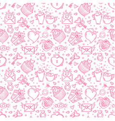 Seamless pattern with valentines day and love vector