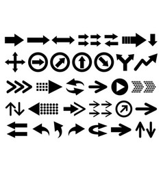 set arrow shapes isolated on white vector image
