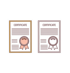 Set certificates with seal and ribbon isolated vector