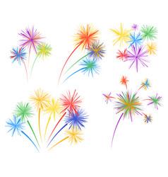 set fireworks of different kinds vector image