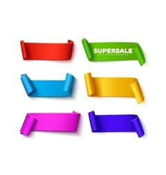 Set of colorful curved paper ribbon banners with vector