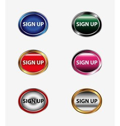 Set of sign up buttonicon vector
