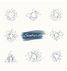 set vintage sun burst frames and design elements vector image