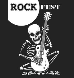 skeleton plays guitar rock festival poster vector image