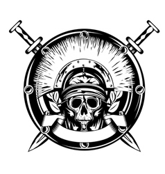 skull in helmet and shield and cross vector image