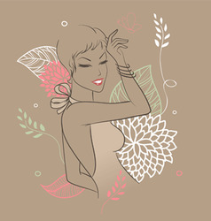 Smile woman floral vector