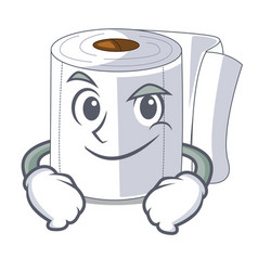smirking character toilet paper rolled on wall vector image