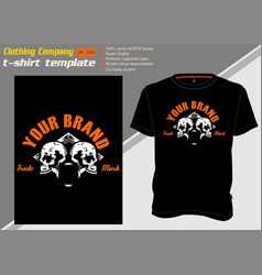 t shirt template with two skullhand drawing vector image