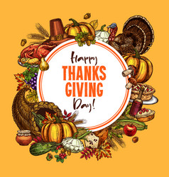 Thanksgiving sketch poster or greeting card vector