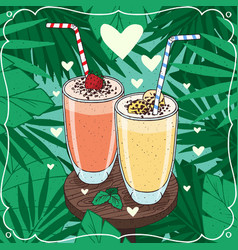Two romantic fresh juices or milkshakes vector